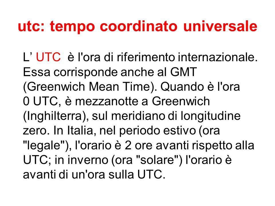 utc: tempo coordinato universale