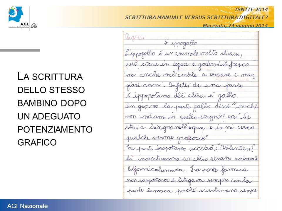 ISNITE 2014 SCRITTURA MANUALE VERSUS SCRITTURA DIGITALE Macerata, 24 maggio 2014.