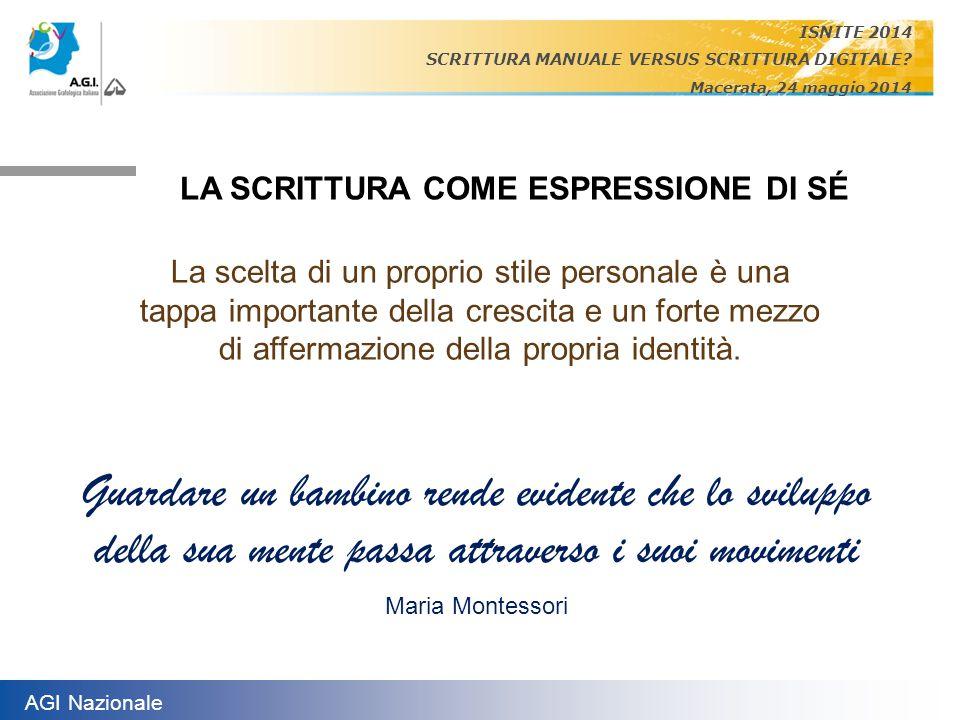 ISNITE 2014 SCRITTURA MANUALE VERSUS SCRITTURA DIGITALE Macerata, 24 maggio 2014. LA SCRITTURA COME ESPRESSIONE DI SÉ.