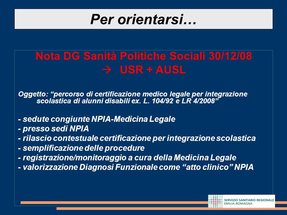 Nota DG Sanità Politiche Sociali 30/12/08