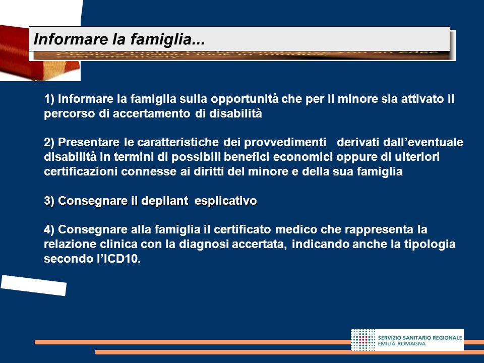 Informare la famiglia... 1) Informare la famiglia sulla opportunità che per il minore sia attivato il percorso di accertamento di disabilità.