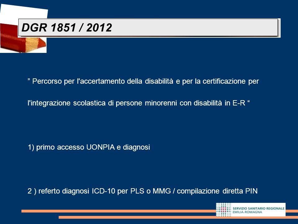 DGR 1851 / 2012 Percorso per l accertamento della disabilità e per la certificazione per.