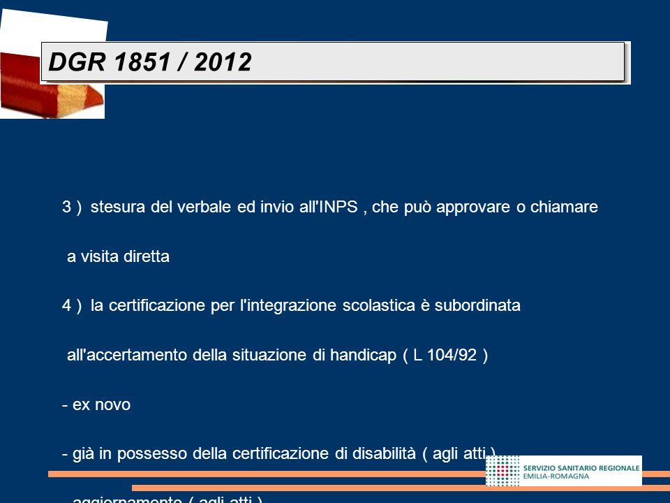 DGR 1851 / 2012 3 ) stesura del verbale ed invio all INPS , che può approvare o chiamare. a visita diretta.
