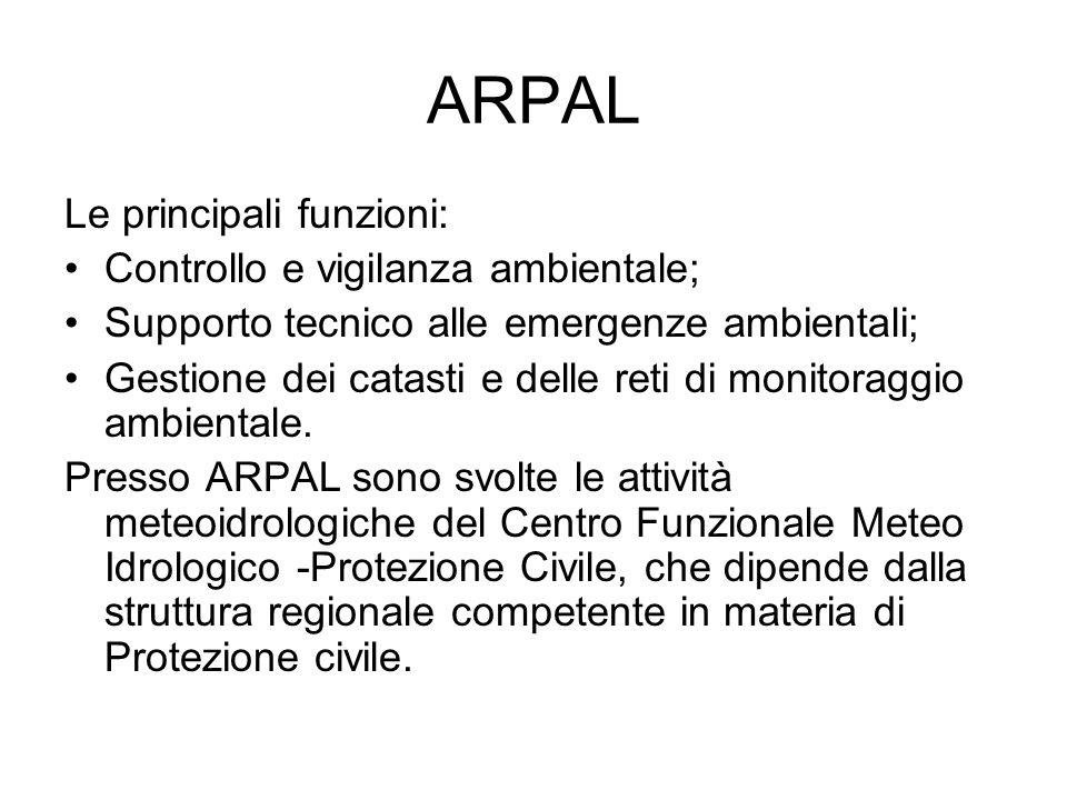 ARPAL Le principali funzioni: Controllo e vigilanza ambientale;