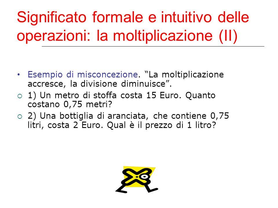 Significato formale e intuitivo delle operazioni: la moltiplicazione (II)
