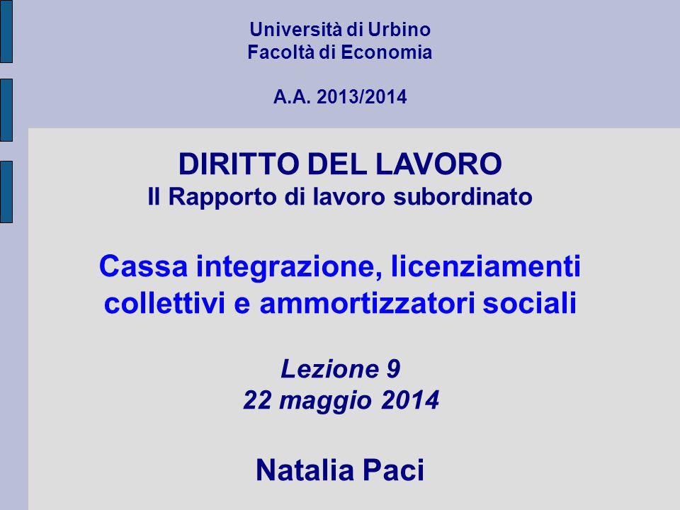 Cassa integrazione, licenziamenti collettivi e ammortizzatori sociali