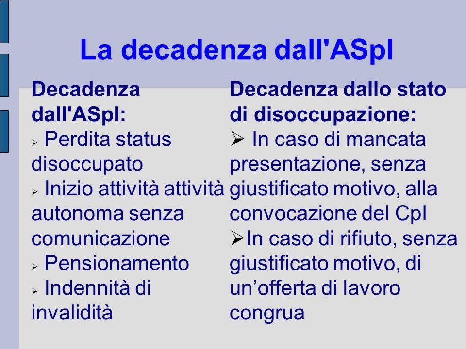 La decadenza dall ASpI Decadenza dall ASpI: Perdita status disoccupato