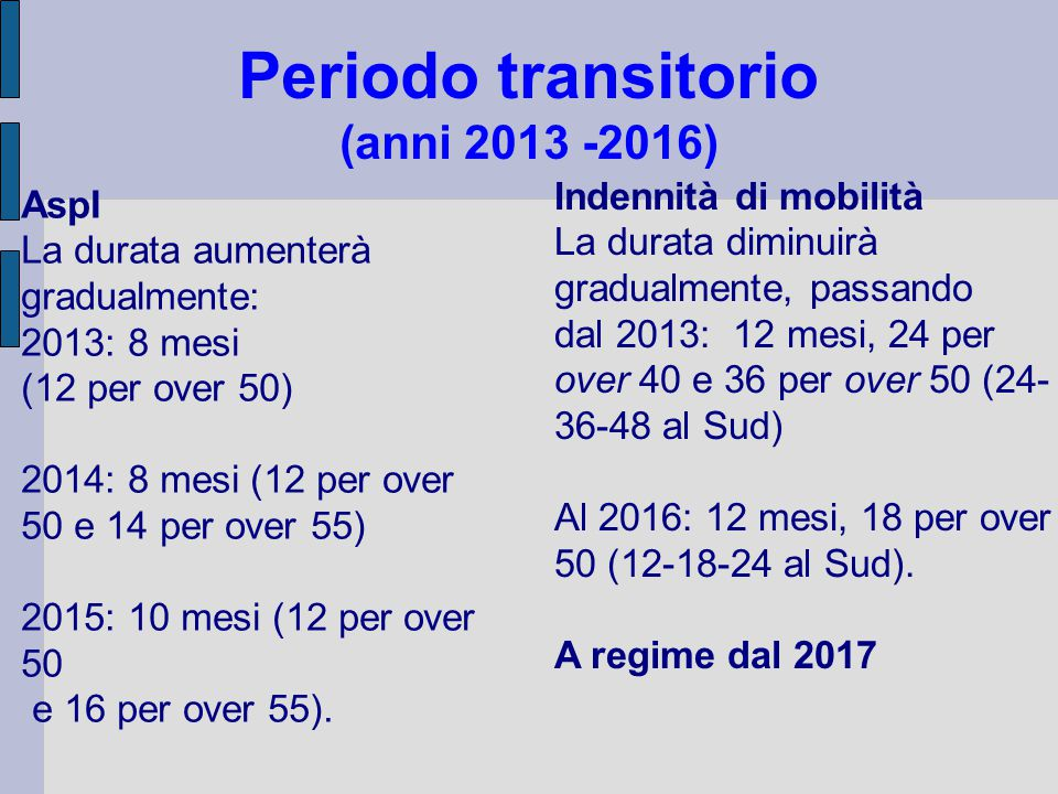 Periodo transitorio (anni 2013 -2016)