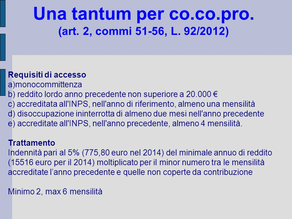 Una tantum per co.co.pro. (art. 2, commi 51-56, L. 92/2012)