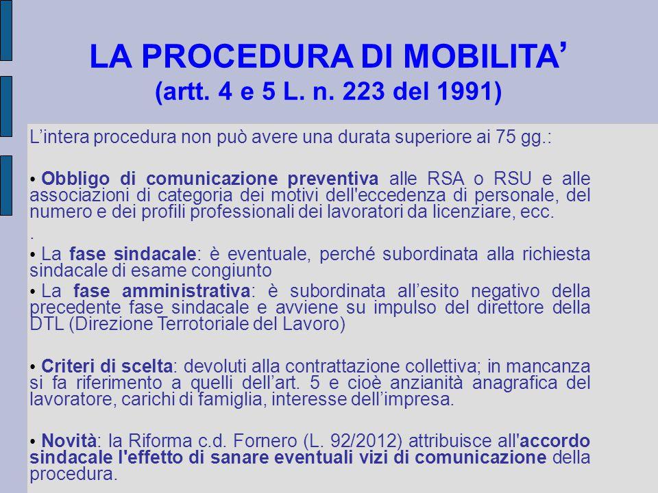 LA PROCEDURA DI MOBILITA' (artt. 4 e 5 L. n. 223 del 1991)
