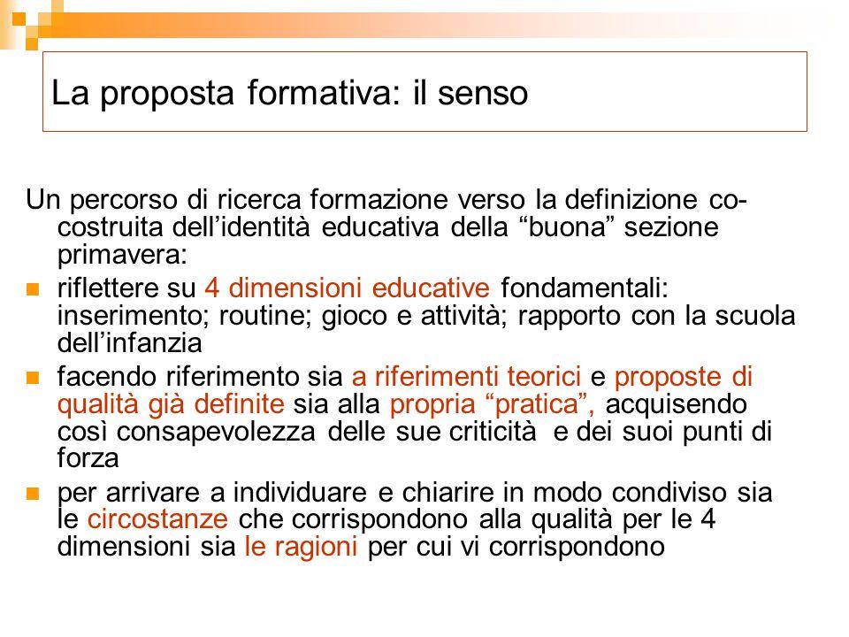La proposta formativa: il senso
