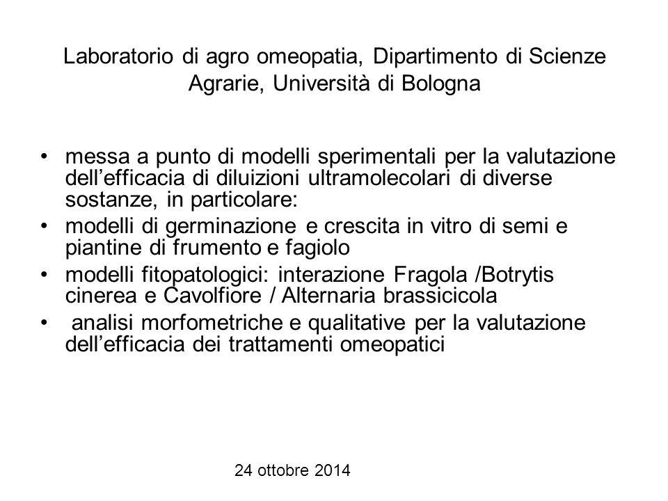 Laboratorio di agro omeopatia, Dipartimento di Scienze Agrarie, Università di Bologna