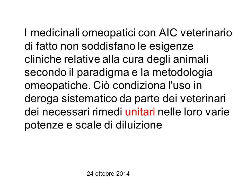 I medicinali omeopatici con AIC veterinario di fatto non soddisfano le esigenze cliniche relative alla cura degli animali secondo il paradigma e la metodologia omeopatiche. Ciò condiziona l uso in deroga sistematico da parte dei veterinari dei necessari rimedi unitari nelle loro varie potenze e scale di diluizione