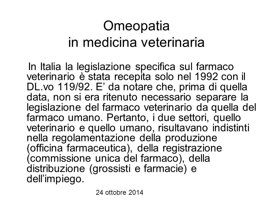 Omeopatia in medicina veterinaria