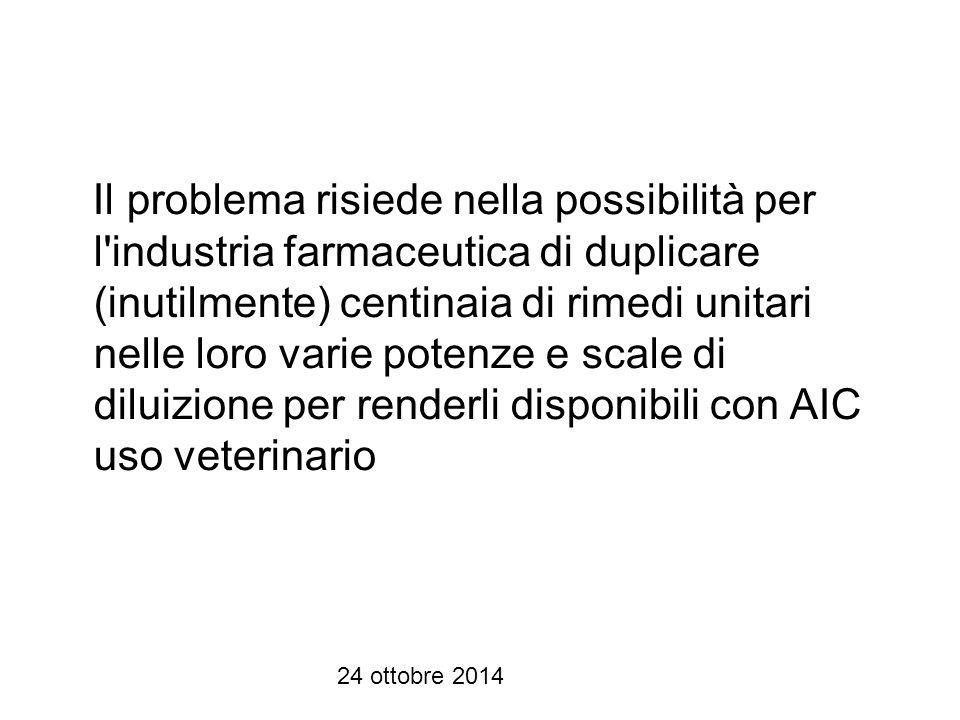 Il problema risiede nella possibilità per l industria farmaceutica di duplicare (inutilmente) centinaia di rimedi unitari nelle loro varie potenze e scale di diluizione per renderli disponibili con AIC uso veterinario