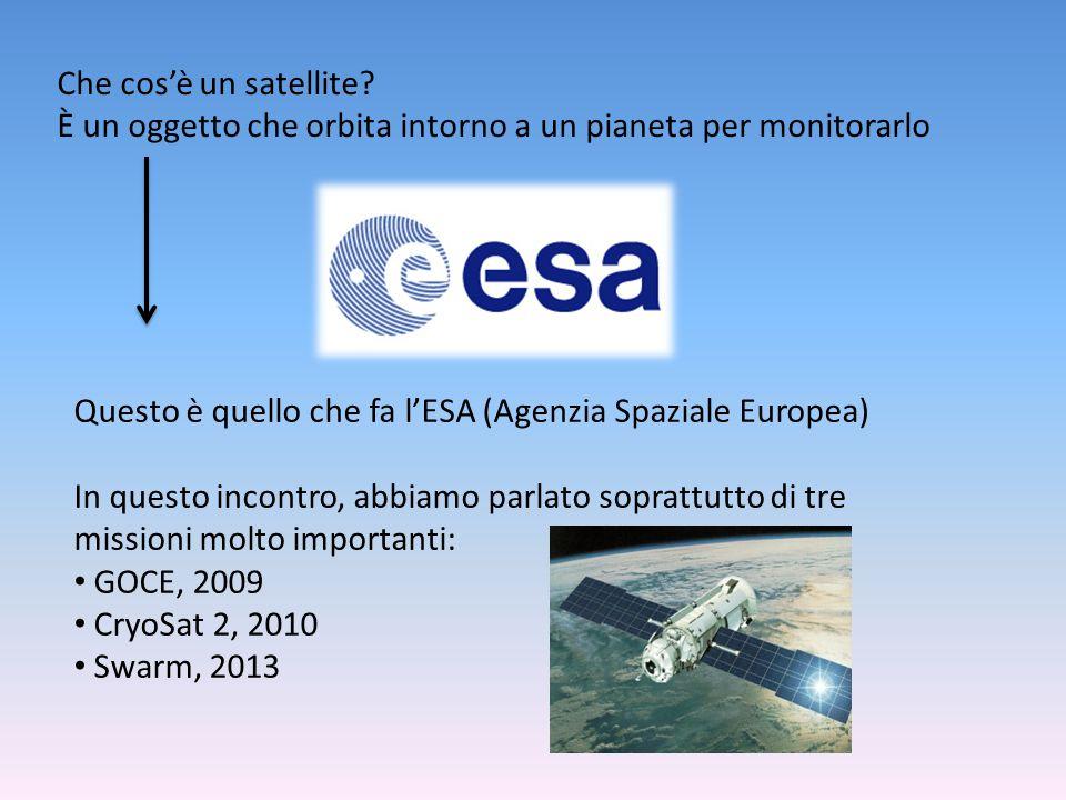 Che cos'è un satellite È un oggetto che orbita intorno a un pianeta per monitorarlo. Questo è quello che fa l'ESA (Agenzia Spaziale Europea)