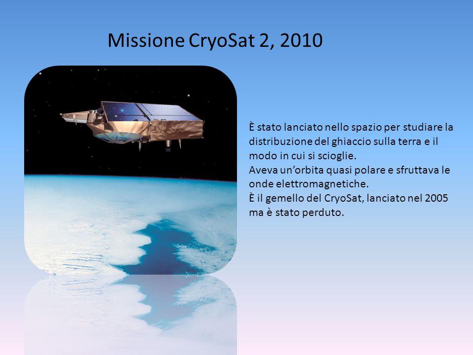 Missione CryoSat 2, 2010 È stato lanciato nello spazio per studiare la distribuzione del ghiaccio sulla terra e il modo in cui si scioglie.