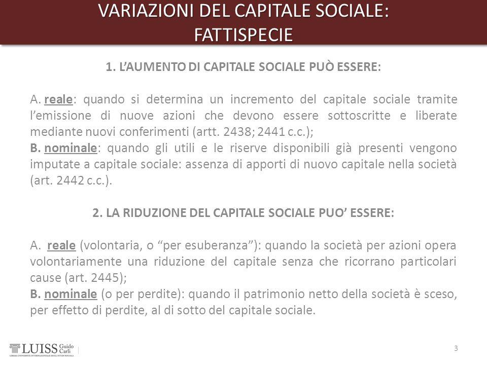 VARIAZIONI DEL CAPITALE SOCIALE: FATTISPECIE