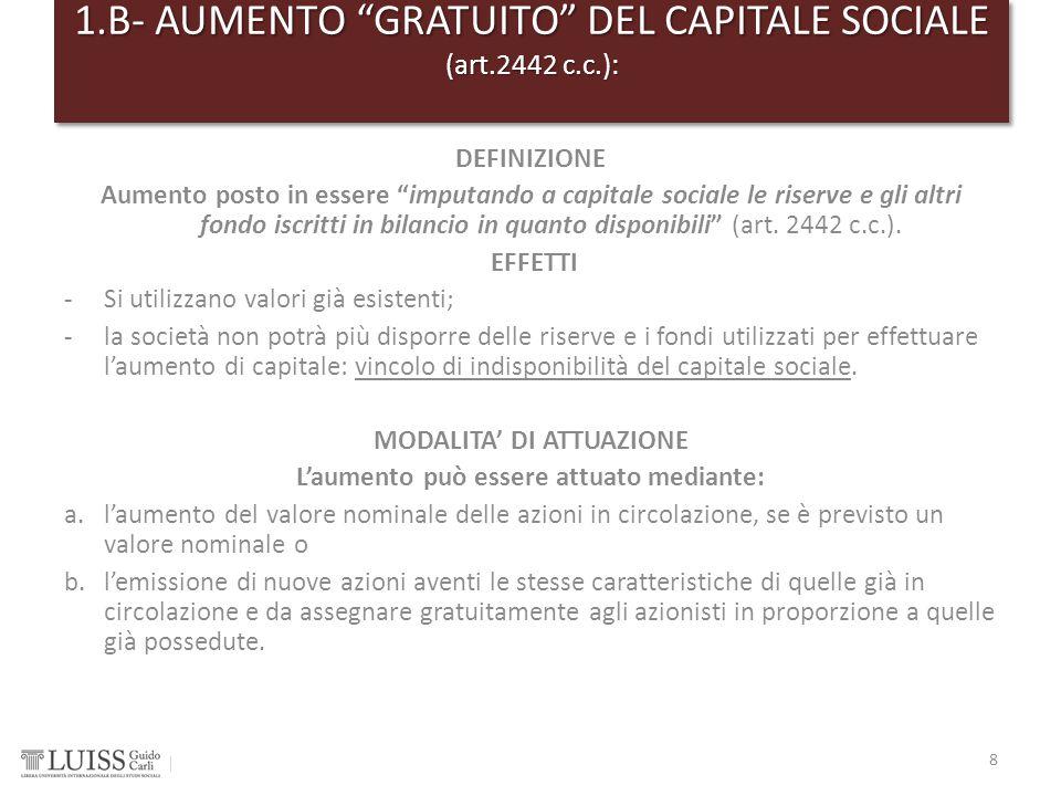 1.B- AUMENTO GRATUITO DEL CAPITALE SOCIALE (art.2442 c.c.):