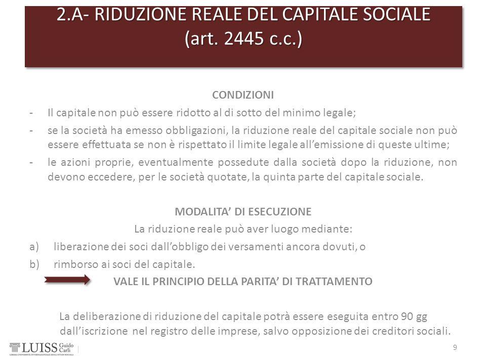 2.A- RIDUZIONE REALE DEL CAPITALE SOCIALE (art. 2445 c.c.)