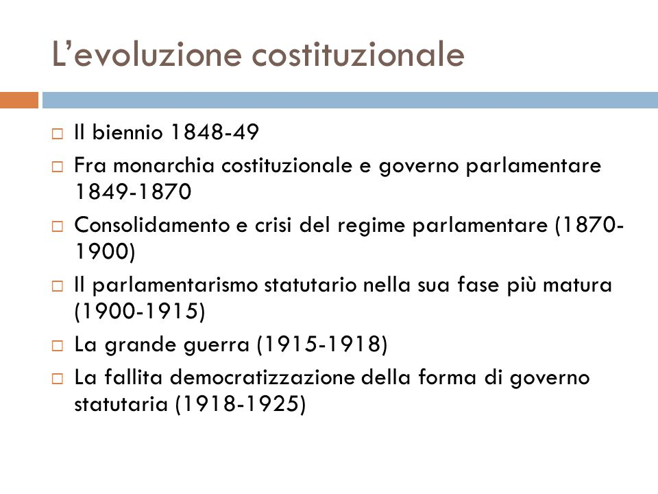 L'evoluzione costituzionale