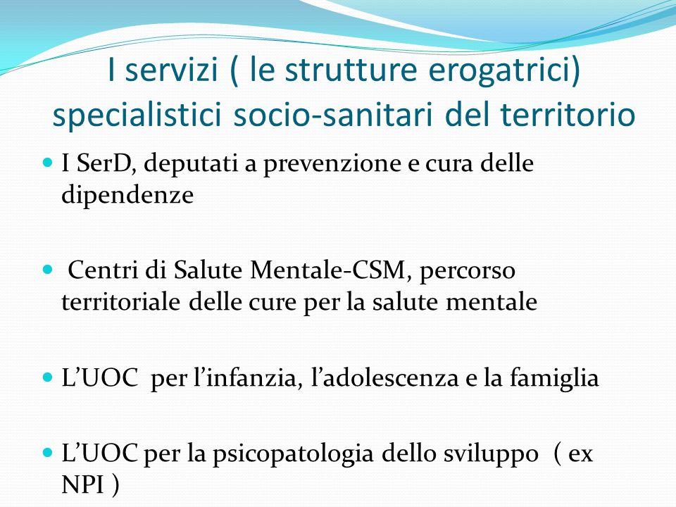 I servizi ( le strutture erogatrici) specialistici socio-sanitari del territorio