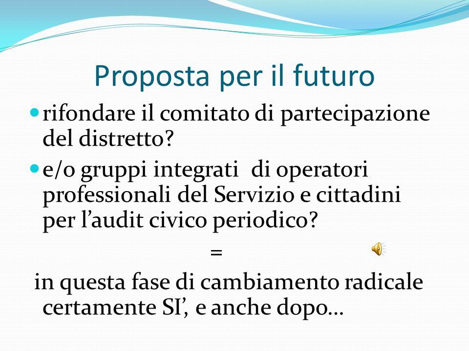 Proposta per il futuro rifondare il comitato di partecipazione del distretto