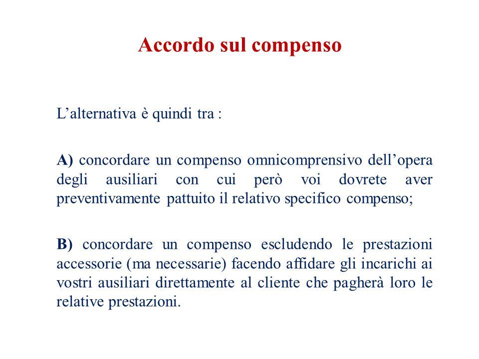 Accordo sul compenso L'alternativa è quindi tra :