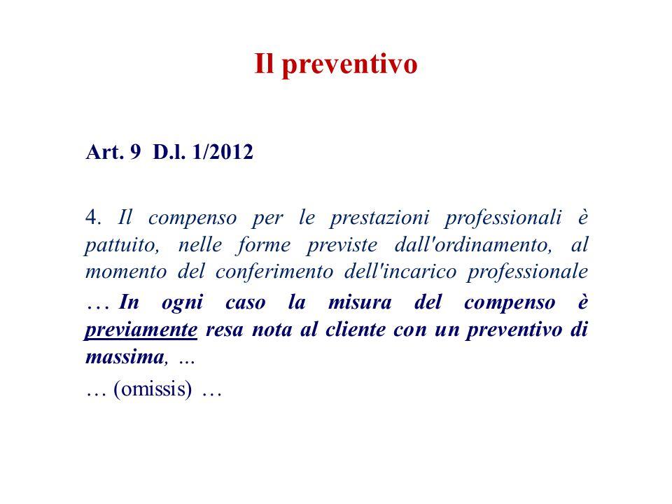 Il preventivo Art. 9 D.l. 1/2012.