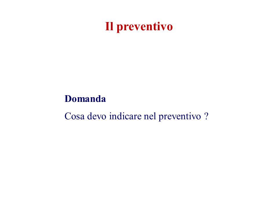 Il preventivo Domanda Cosa devo indicare nel preventivo