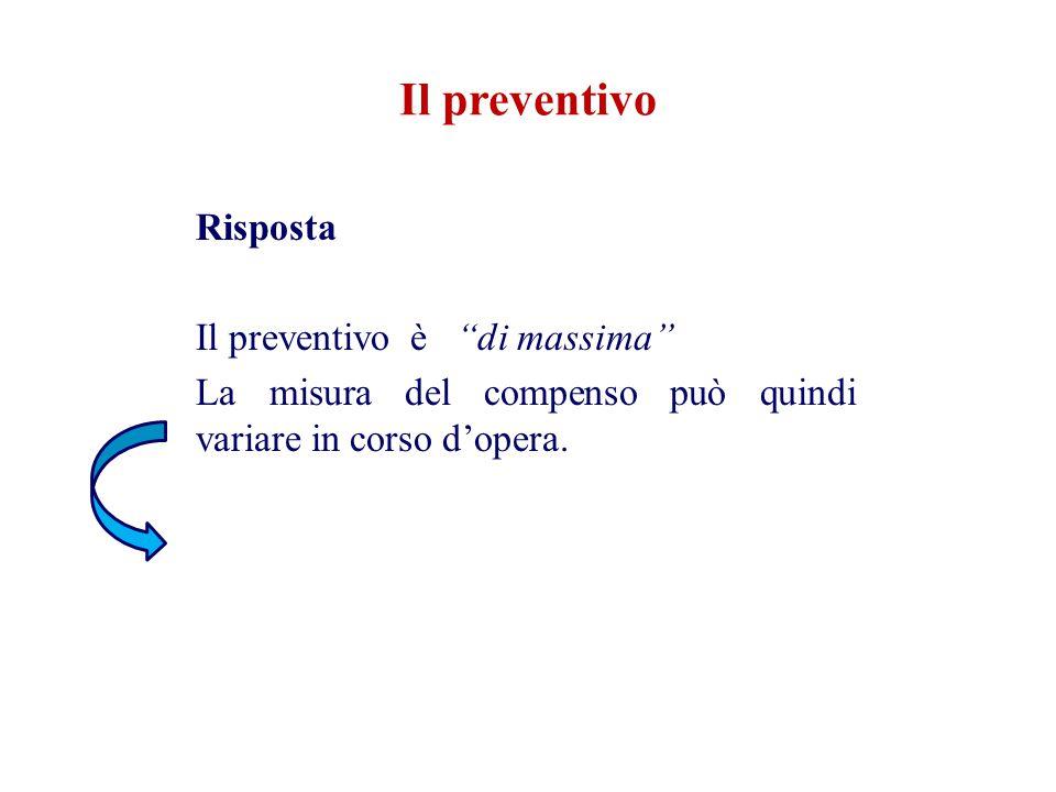 Il preventivo Risposta Il preventivo è di massima La misura del compenso può quindi variare in corso d'opera.