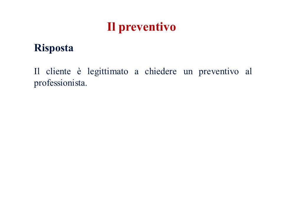 Il preventivo Risposta Il cliente è legittimato a chiedere un preventivo al professionista.