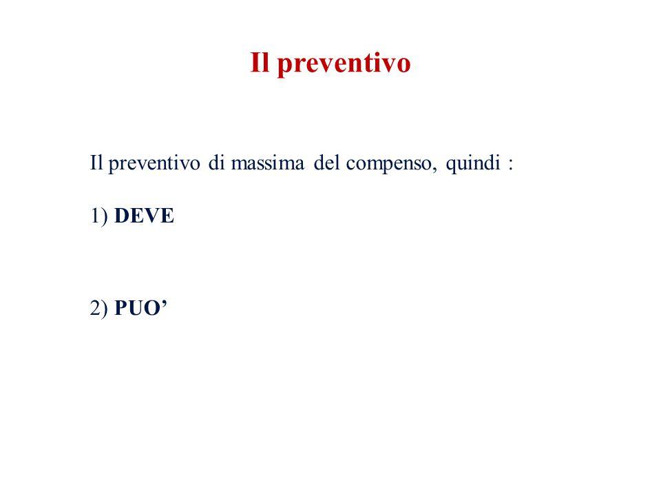 Il preventivo Il preventivo di massima del compenso, quindi : 1) DEVE 2) PUO'