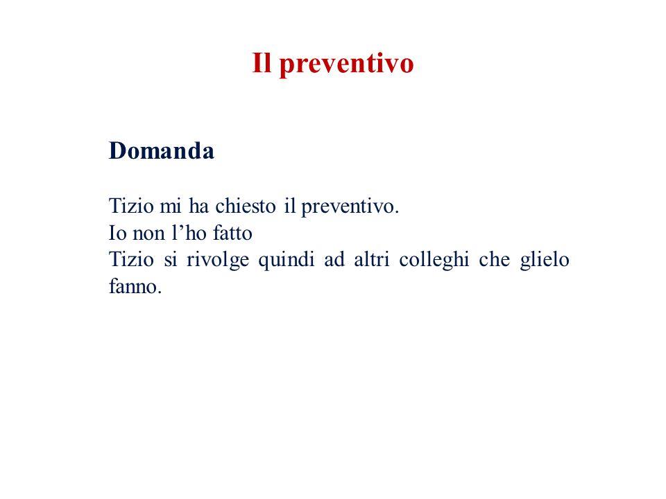 Il preventivo Domanda Tizio mi ha chiesto il preventivo.