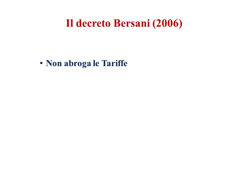 Il decreto Bersani (2006) Non abroga le Tariffe