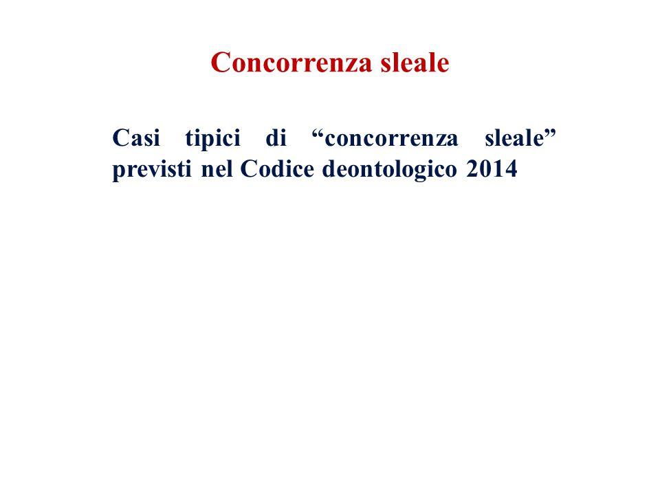 Concorrenza sleale Casi tipici di concorrenza sleale previsti nel Codice deontologico 2014