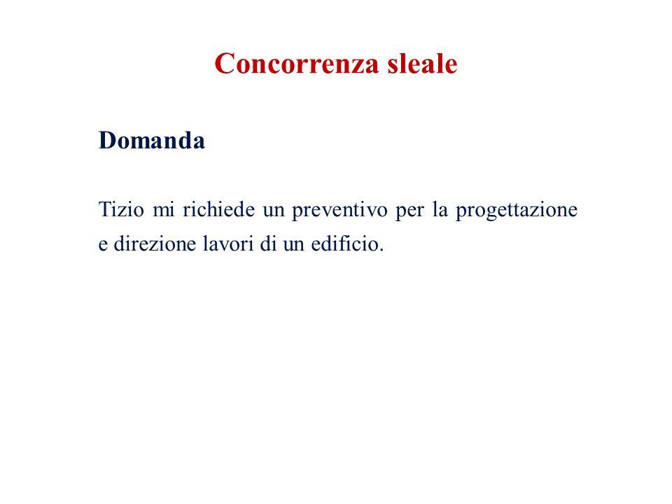 Concorrenza sleale Domanda Tizio mi richiede un preventivo per la progettazione e direzione lavori di un edificio.