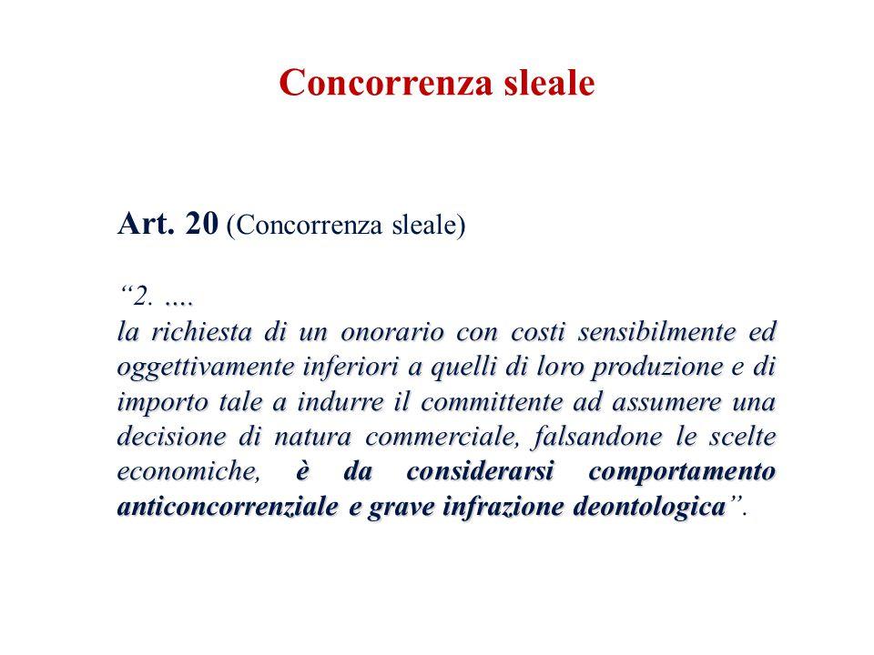 Concorrenza sleale Art. 20 (Concorrenza sleale) 2. ….