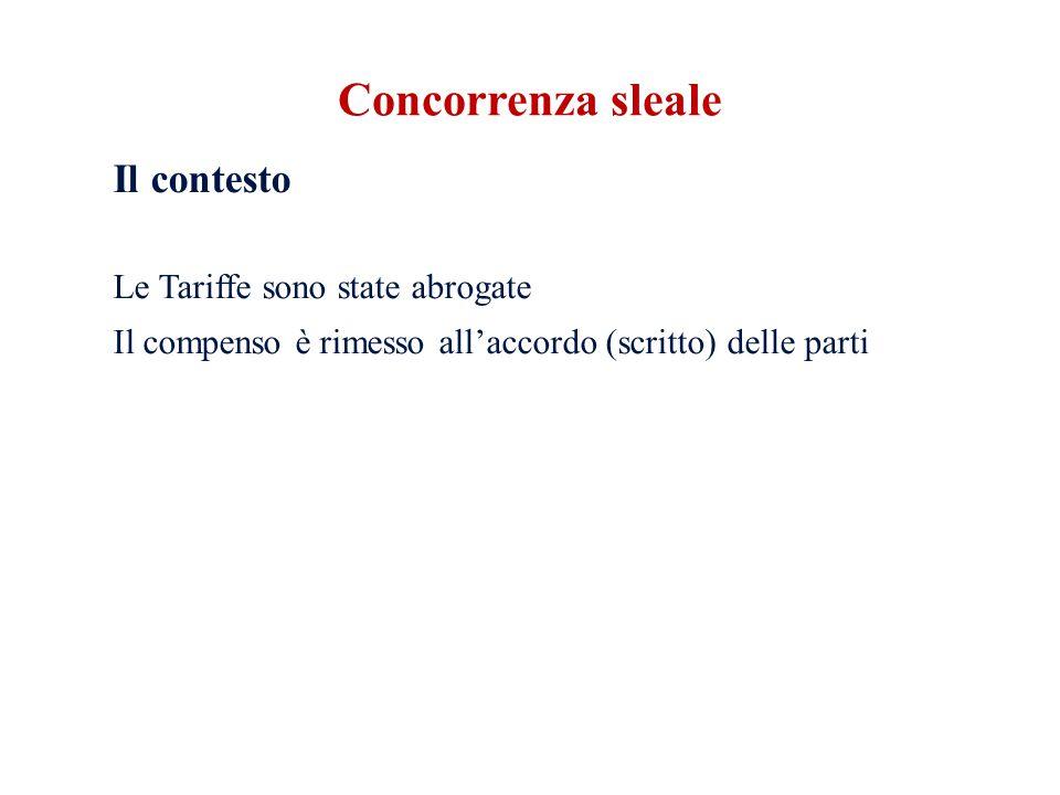 Concorrenza sleale Il contesto Le Tariffe sono state abrogate Il compenso è rimesso all'accordo (scritto) delle parti
