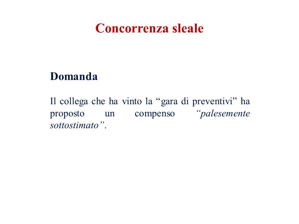 Concorrenza sleale Domanda Il collega che ha vinto la gara di preventivi ha proposto un compenso palesemente sottostimato .