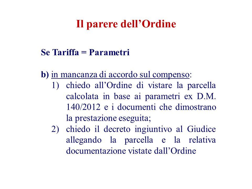 Il parere dell'Ordine Se Tariffa = Parametri