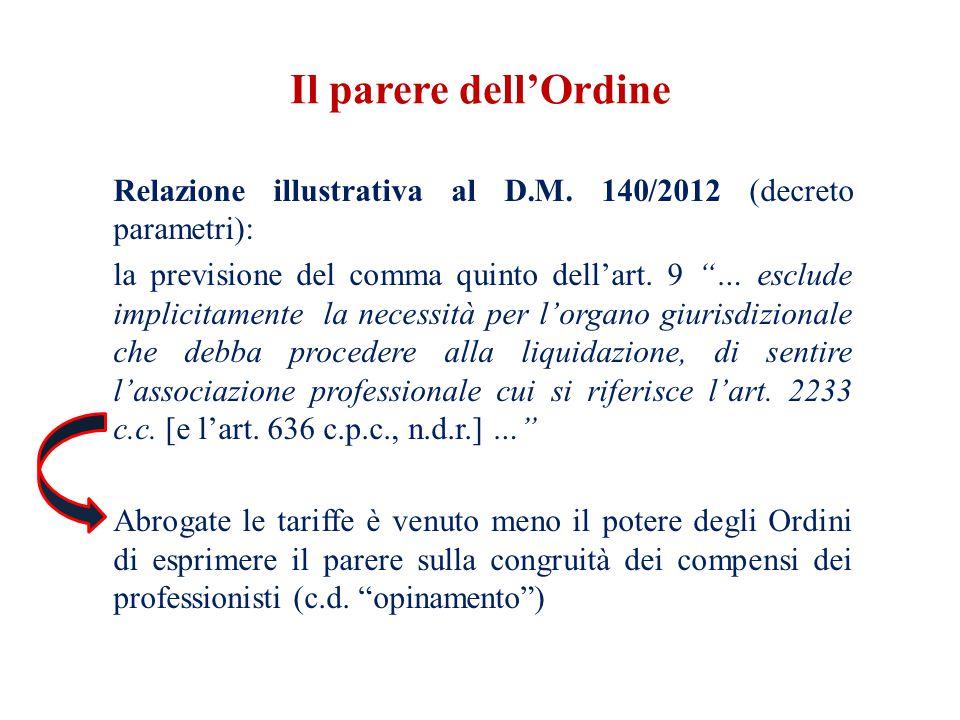 Il parere dell'Ordine Relazione illustrativa al D.M. 140/2012 (decreto parametri):