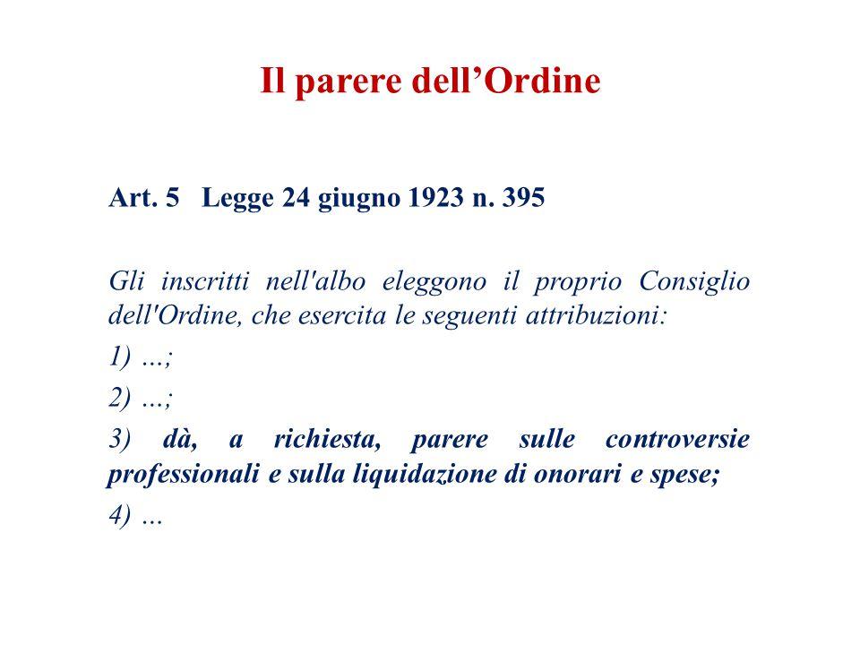 Il parere dell'Ordine Art. 5 Legge 24 giugno 1923 n. 395
