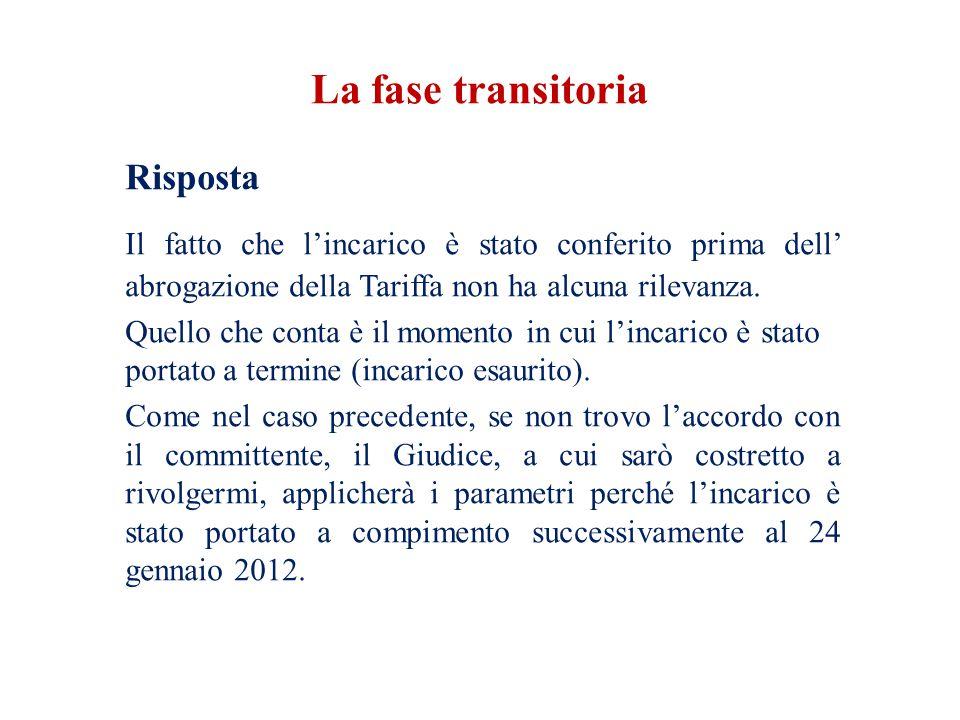 La fase transitoria Risposta. Il fatto che l'incarico è stato conferito prima dell' abrogazione della Tariffa non ha alcuna rilevanza.