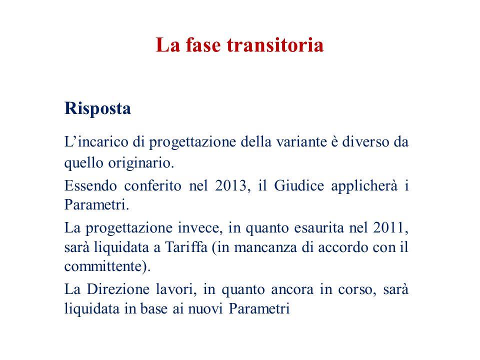 La fase transitoria Risposta. L'incarico di progettazione della variante è diverso da quello originario.
