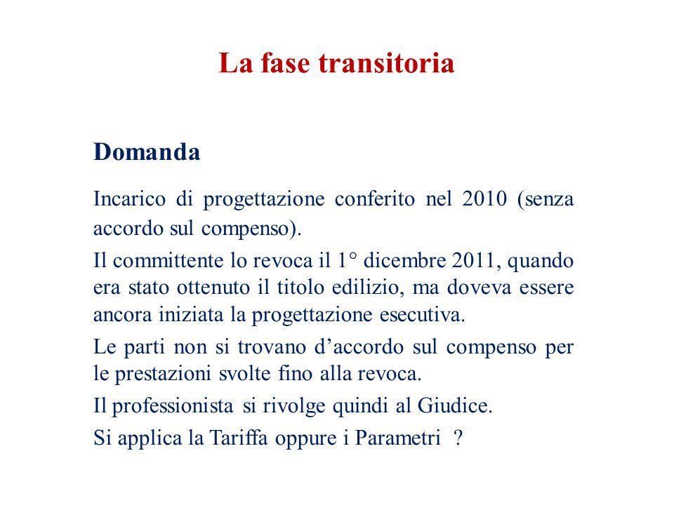 La fase transitoria Domanda. Incarico di progettazione conferito nel 2010 (senza accordo sul compenso).