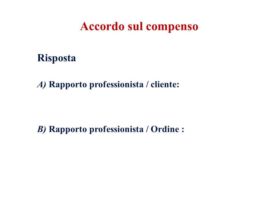 Accordo sul compenso A) Rapporto professionista / cliente: Risposta