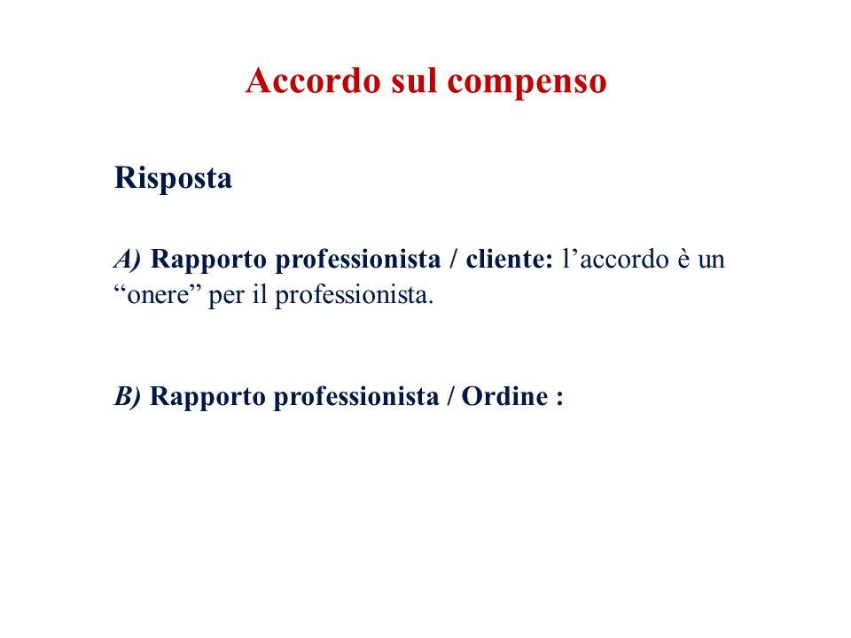 Accordo sul compenso Risposta. A) Rapporto professionista / cliente: l'accordo è un onere per il professionista.