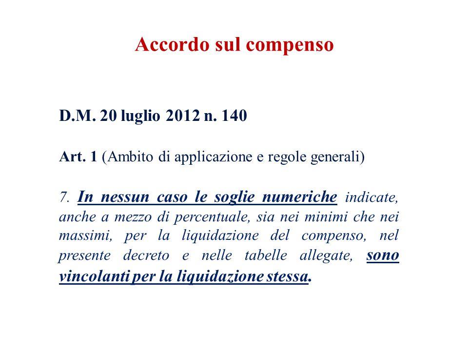 Accordo sul compenso Art. 1 (Ambito di applicazione e regole generali)