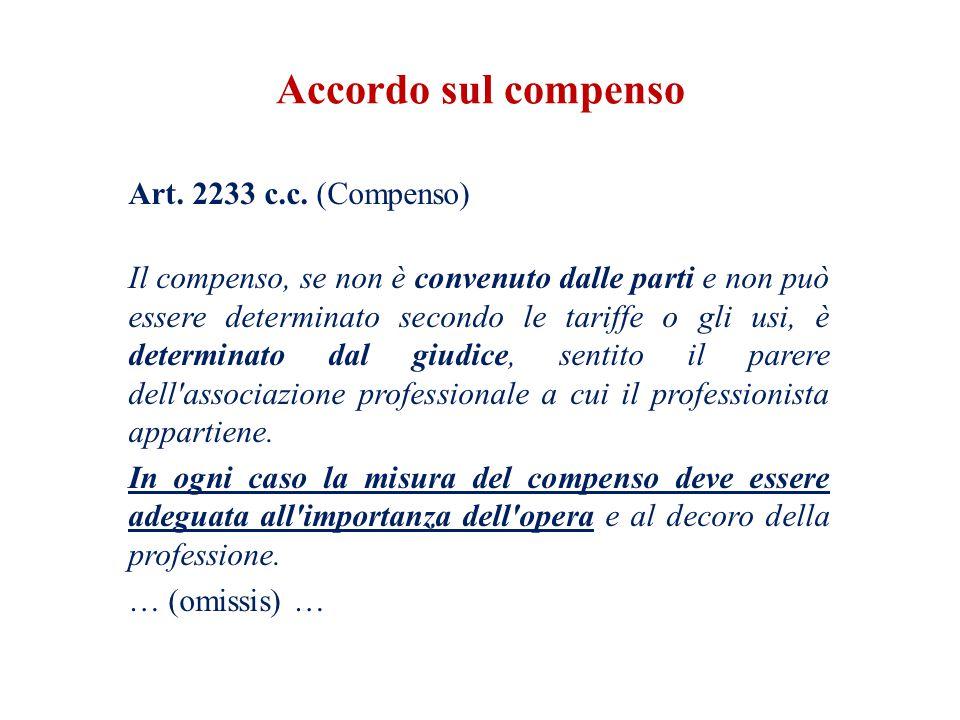 Accordo sul compenso Art. 2233 c.c. (Compenso)